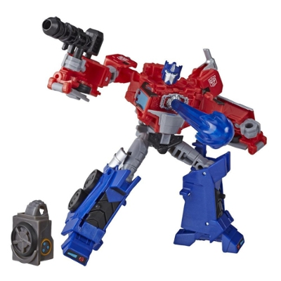Transformers Toys Cyberverse Deluxe Class Optimus Prime Action Figure, Matrix Mega Shot Attack Move, Build-A-Figure Piece, 5-inch