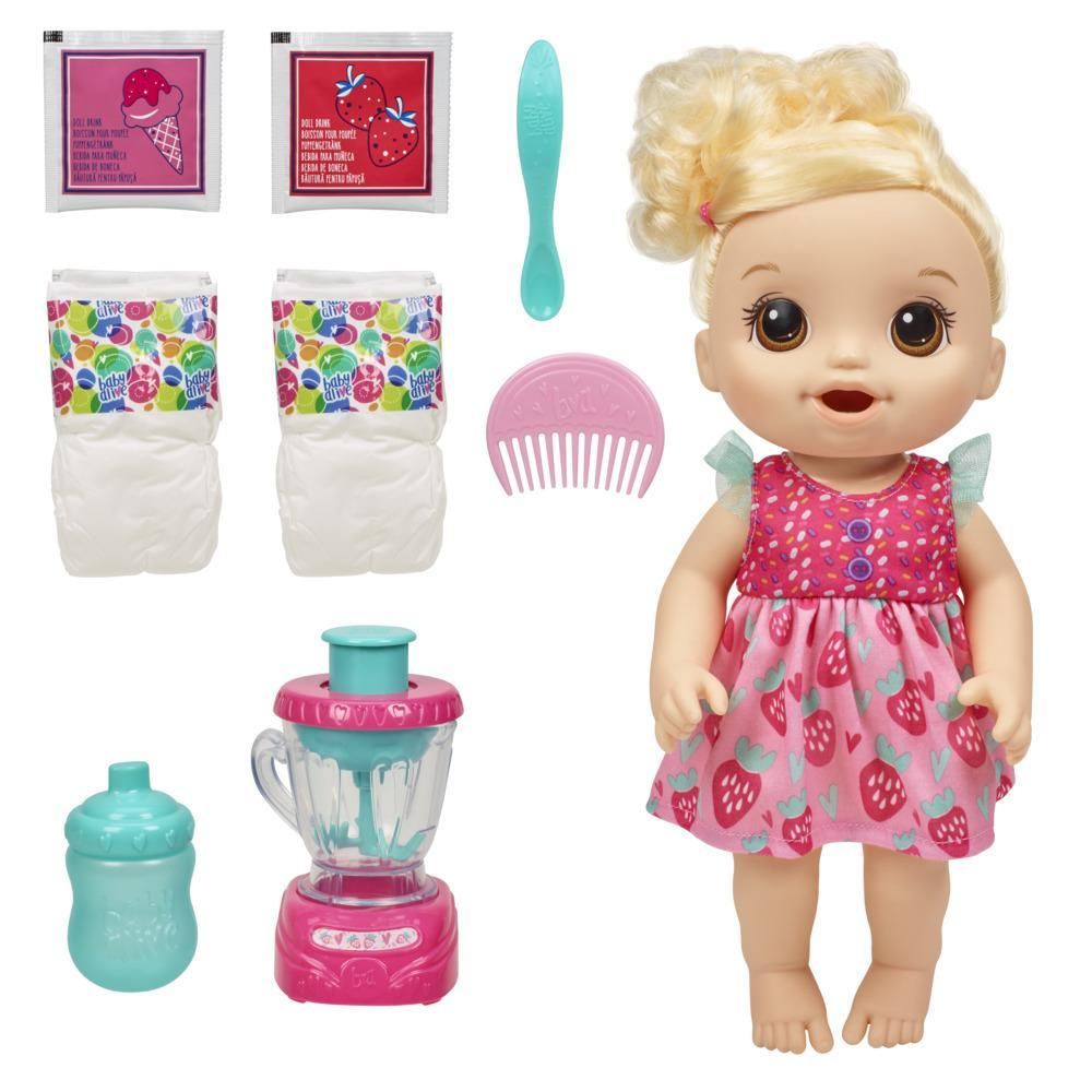 Baby Alive Magical Mixer Baby Doll Strawberry Shake, Blender, Accessories, Drinks, Wets, Eats, Toy for Kids Ages 3 and Up