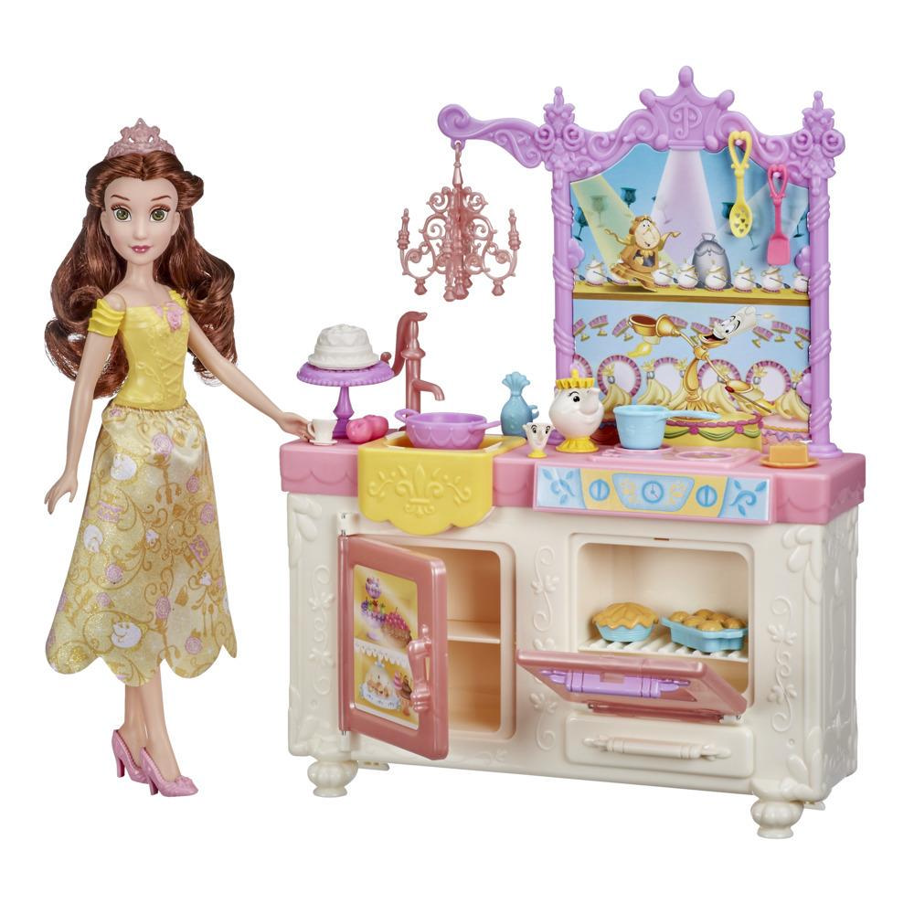 Disney Princess Belle's Royal Kitchen, Fashion Doll and Playset, 13 Accessories, Toy for Girls 3 Years and Up