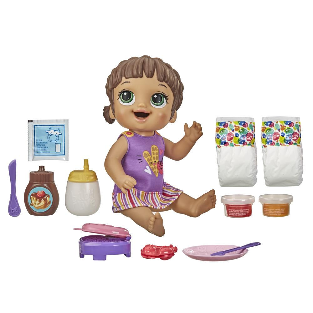 Baby Alive Breakfast Time Baby Doll, Accessories, Drinks, Wets, Eats, Brown Hair Toy for Kids Ages 3 Years and Up