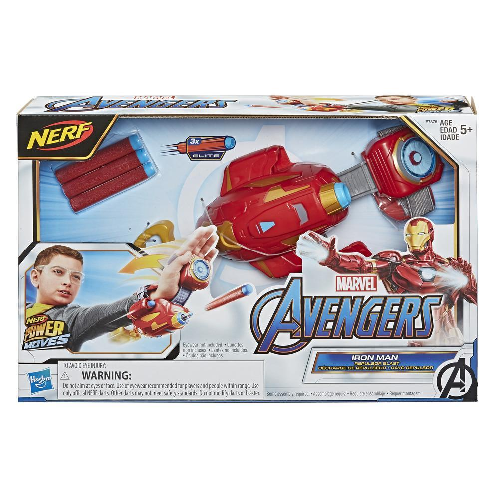 NERF Power Moves Marvel Avengers Iron Man Repulsor Blast Gauntlet NERF Dart-Launching Toy, Kids Roleplay, Ages 5 and Up