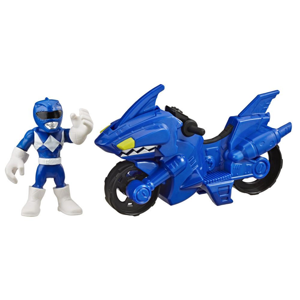Playskool Heroes Power Rangers Blue Ranger Shark Cycle, 5-Inch Figure and Motorcycle Set, Toys for Kids Ages 3 and Up
