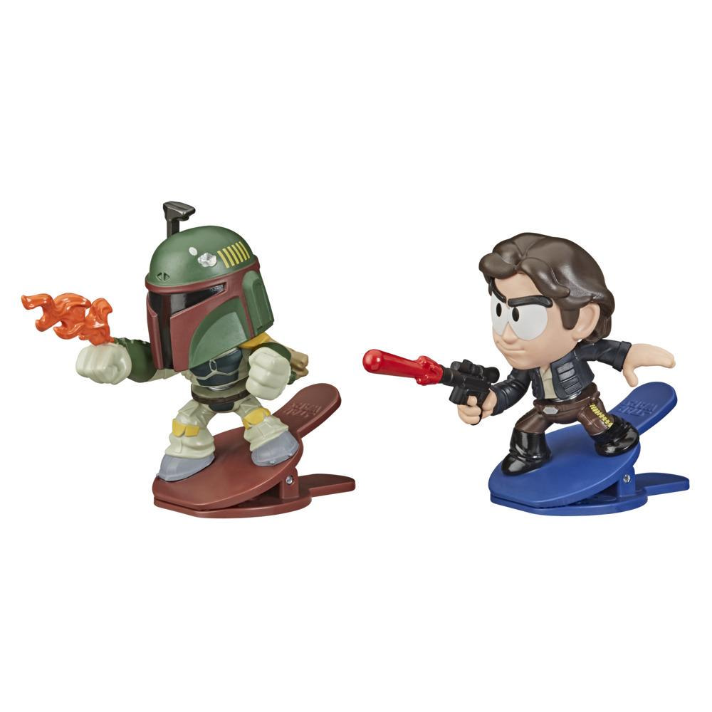 Star Wars Battle Bobblers Boba Fett Vs Han Solo Clippable Battling Figure 2-Pack, Toys for Kids Ages 4 and Up