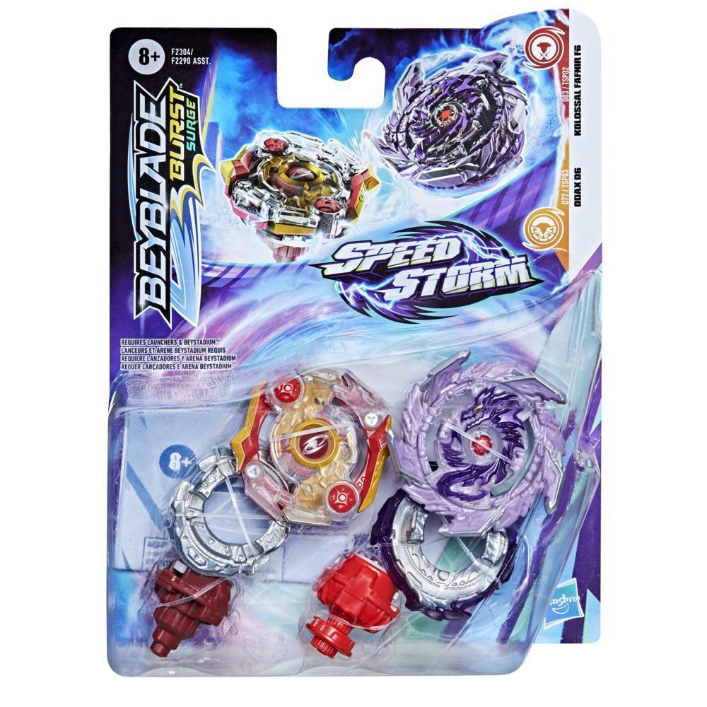 Beyblade Burst Surge Speedstorm Kolossal Fafnir F6 and Odax O6 Spinning Top Dual Pack -- Battling Game Top Toy