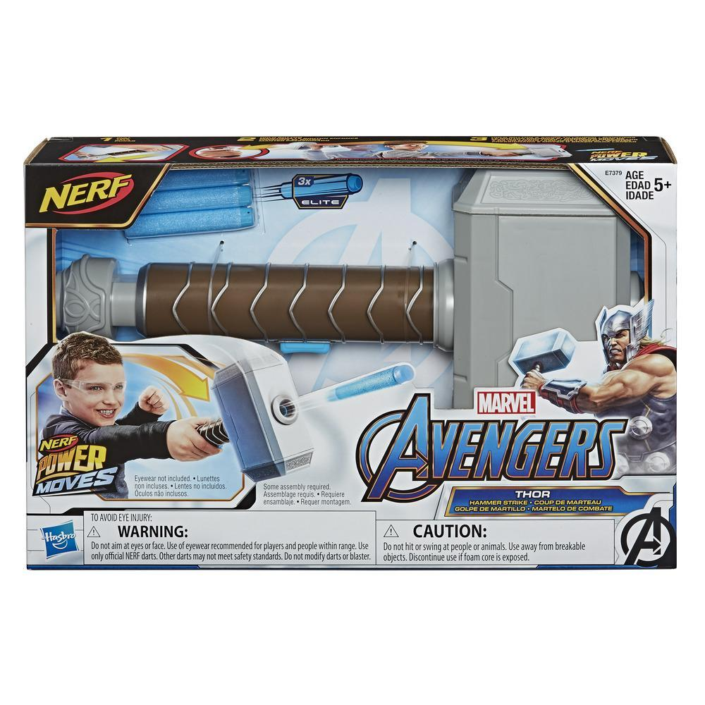 NERF Power Moves Marvel Avengers Thor Hammer Strike NERF Dart-Launching Toy for Kids Roleplay, Kids Ages 5 and Up