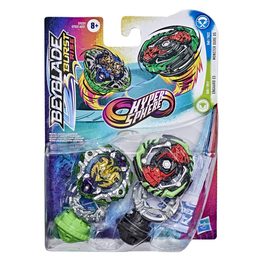 Beyblade Burst Rise Hypersphere Dual Pack Monster Ogre O5 and Engaard E5 -- 2 Battling Top Toys, Ages 8 and Up