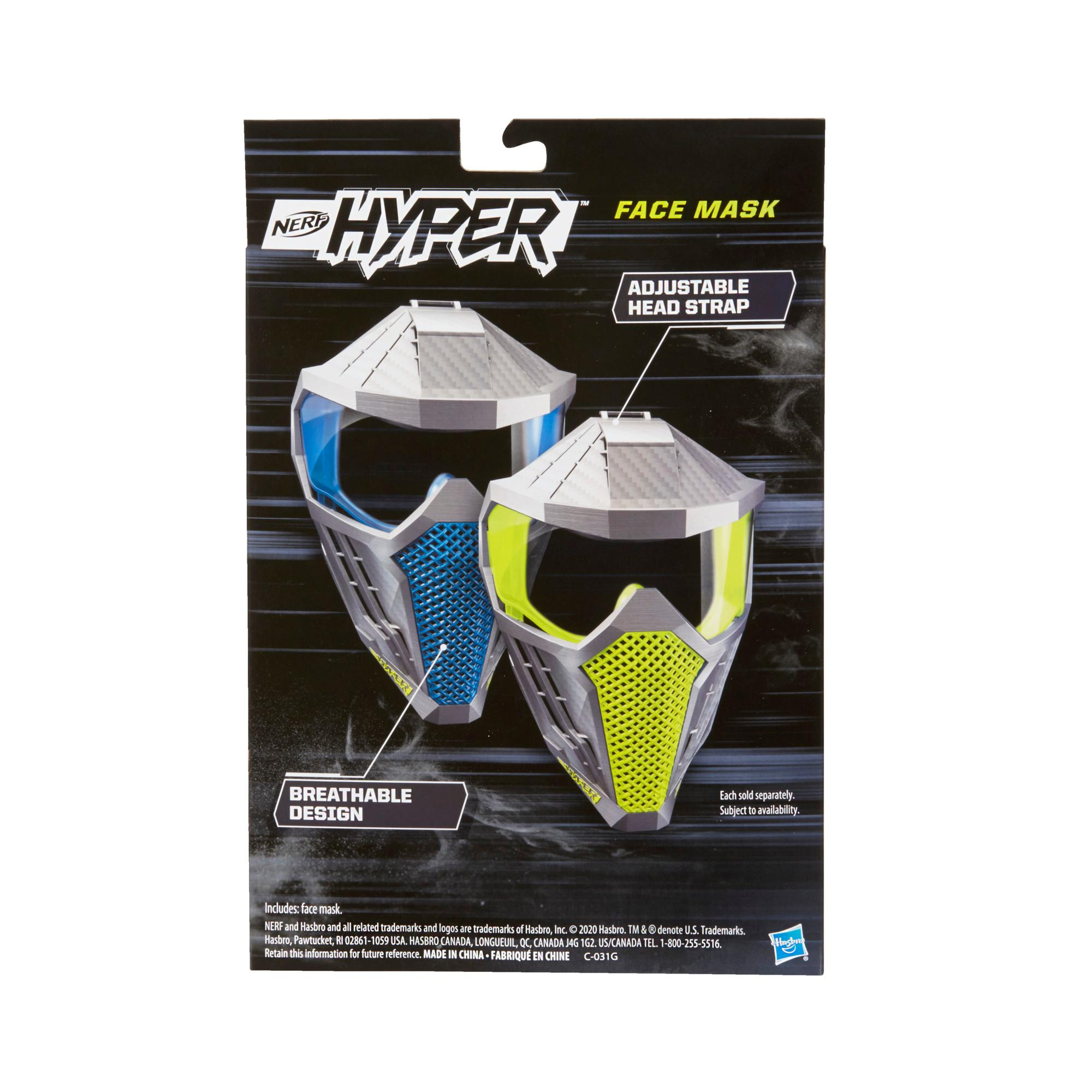 Nerf Hyper Face Mask -- Breathable Design, Adjustable Head Strap, Green Team Color -- For Teens, Adults