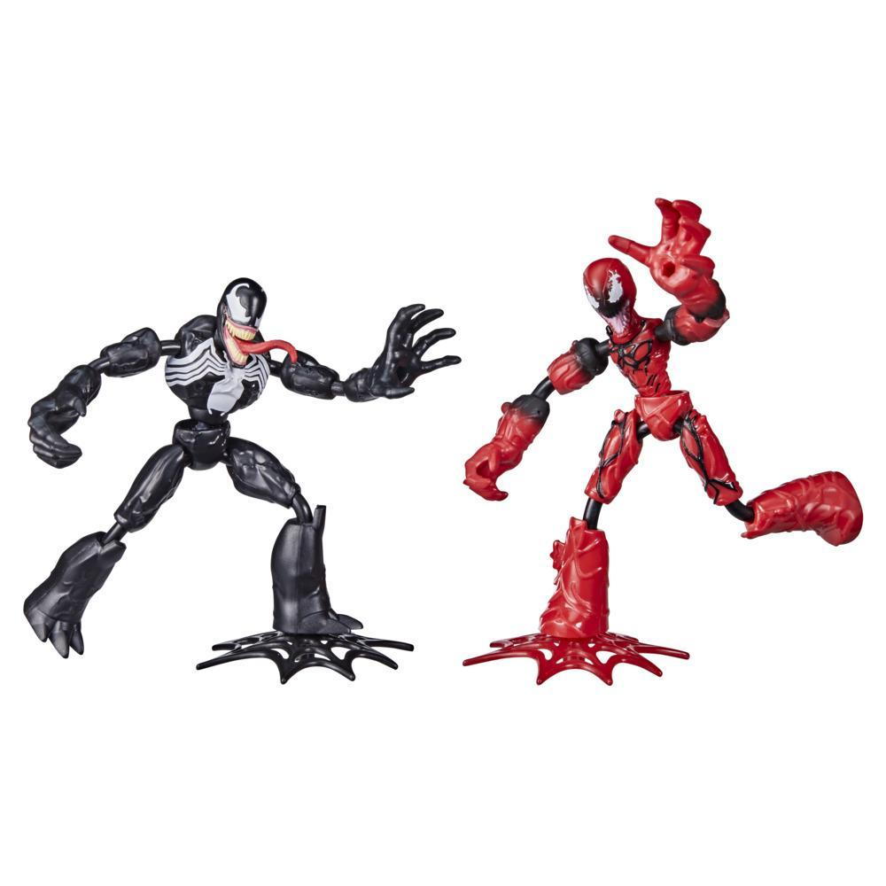 Marvel Spider-Man Bend and Flex Venom Vs. Carnage Action Figure Toys, 6-Inch Flexible Figures, For Kids