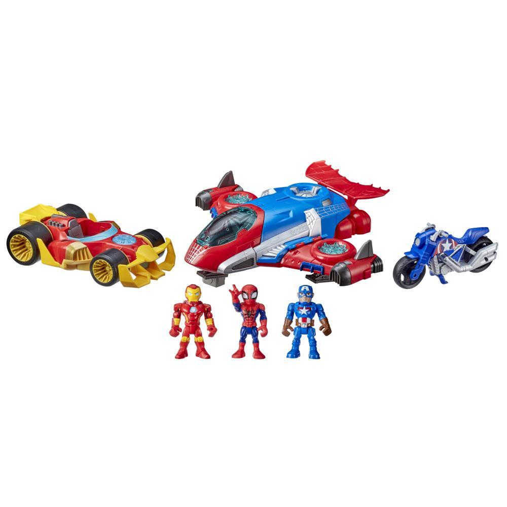 Marvel Super Hero Adventures Figure and Vehicle Multipack, 3 Action Figures and 3 Vehicles, 5-Inch Toys for Kids Ages 3 and Up