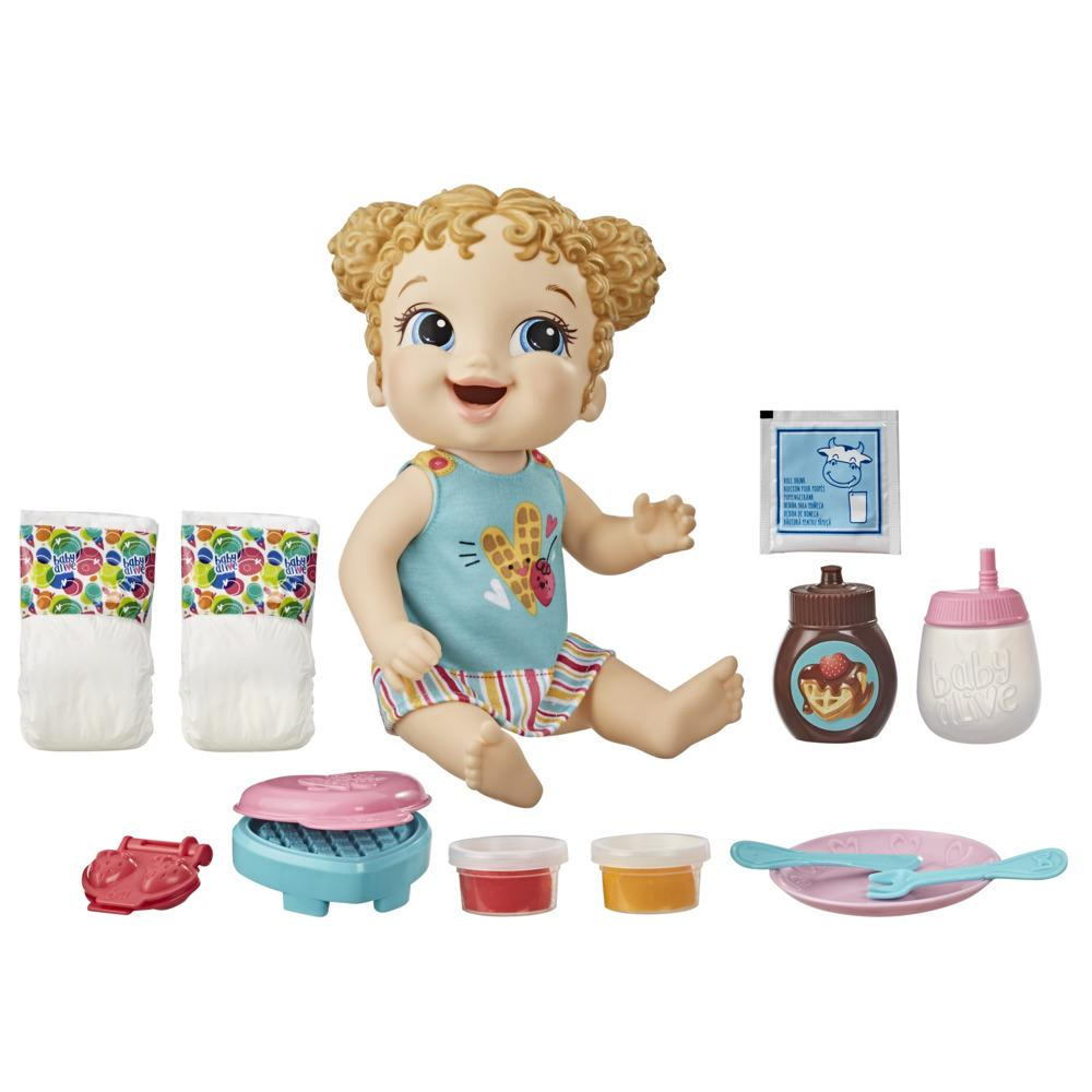 Baby Alive Breakfast Time Baby Doll, Accessories, Drinks, Wets, Eats, Blonde Hair Toy for Kids Ages 3 Years and Up