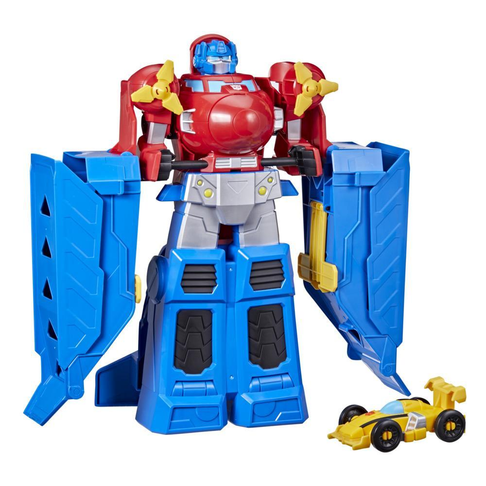 Transformers Toys Optimus Prime Jumbo Jet Wing Racer Playset with 4.5-inch Bumblebee Figure, Ages 3 and Up, 15-inch