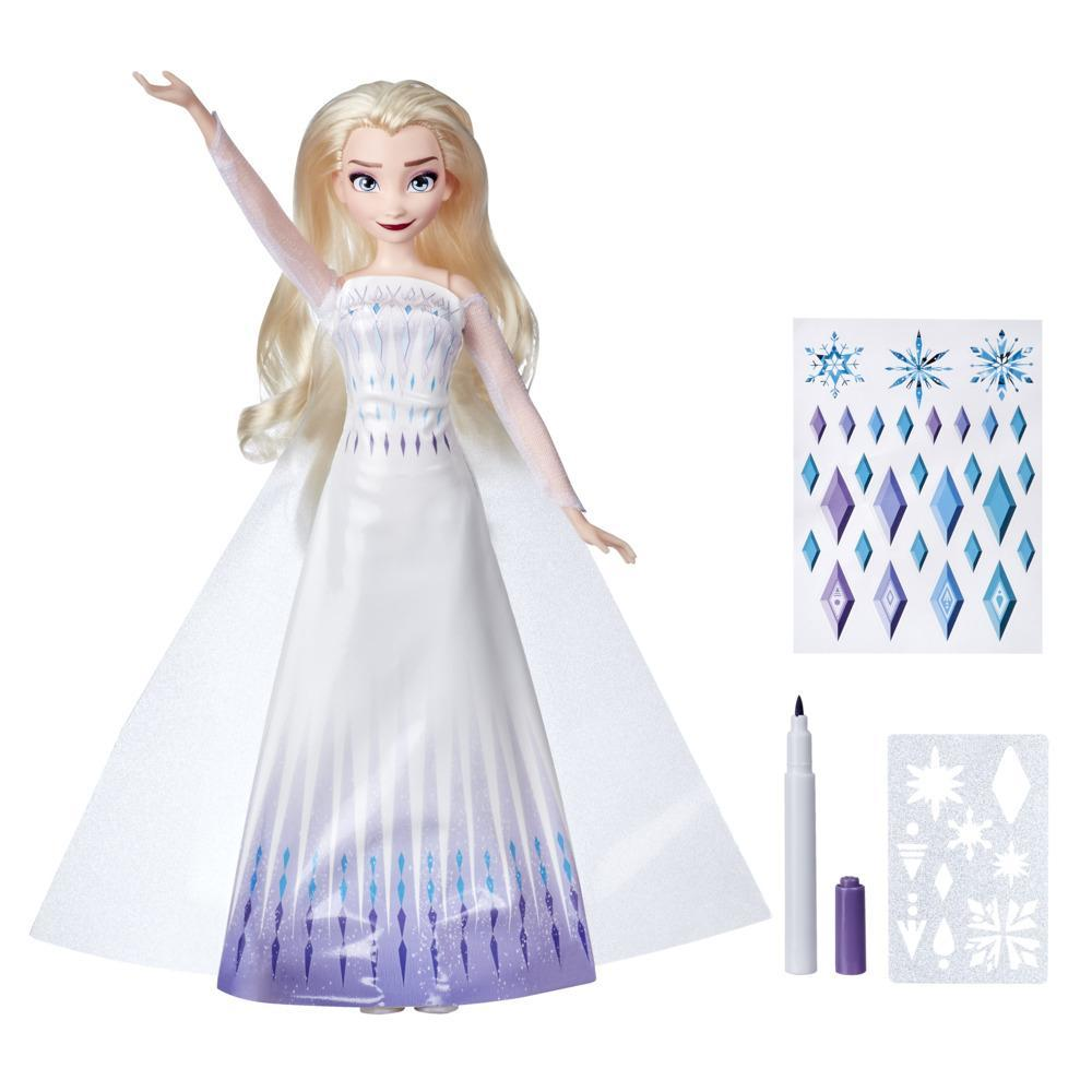 Disney's Frozen 2 Design-a-Dress Elsa Fashion Doll With Stickers, Marker and Stencil, Toy for 3 Year Old Kids