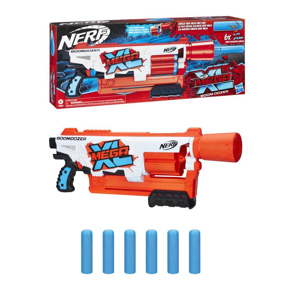Nerf Mega XL Boom Dozer Blaster, Largest Nerf Mega Darts Ever, XL 6-Dart Rotating Drum, 6 Nerf Mega XL Whistler Darts