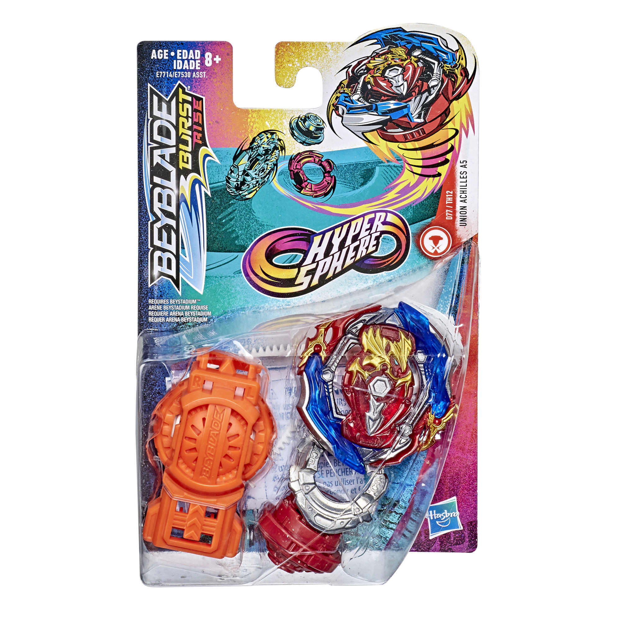 Beyblade Burst Rise Hypersphere Union Achilles A5 Starter Pack -- Battling Top Toy and Right/Left-Spin Launcher