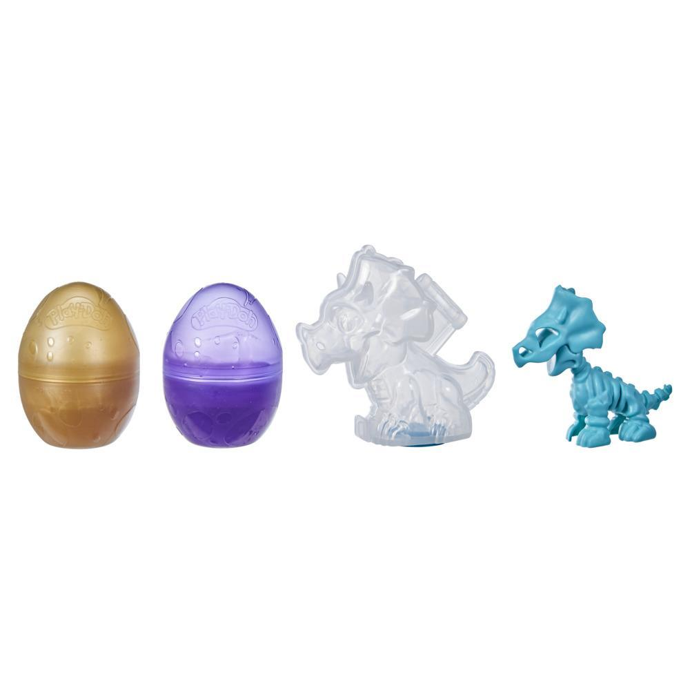 Play-Doh Slime Dino Crew Eggs and Dinosaur Bones Triceratops Toy with HydroGlitz Compound, Non-Toxic