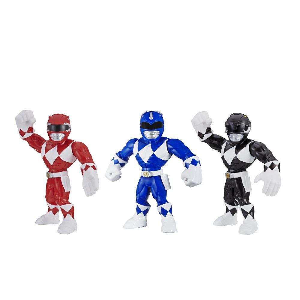 Playskool Heroes Mega Mighties Power Rangers 3-Pack -- Red Ranger, Blue Ranger, and Black Ranger 10-inch Action Figures