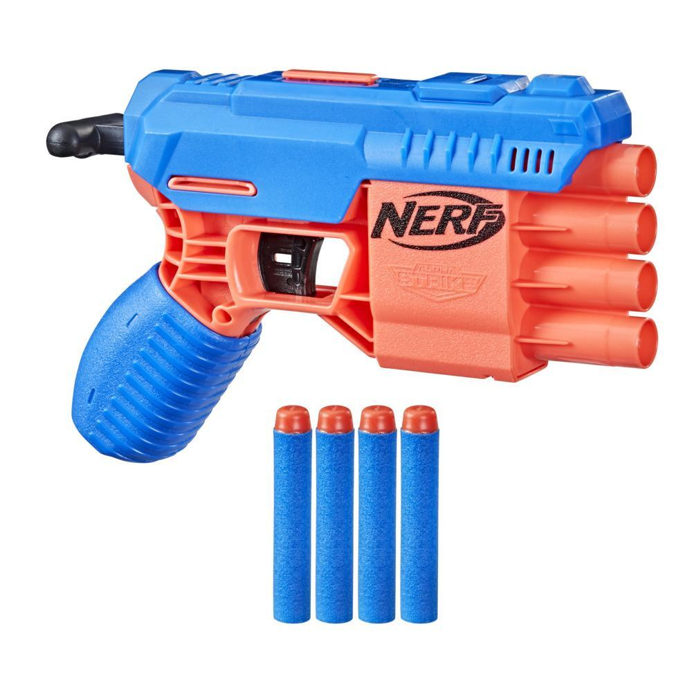Nerf Alpha Strike Claw QS-4 Blaster and 4 Official Nerf Elite Foam Darts -- 4-Dart Blasting -- Easy Load-Prime-Fire