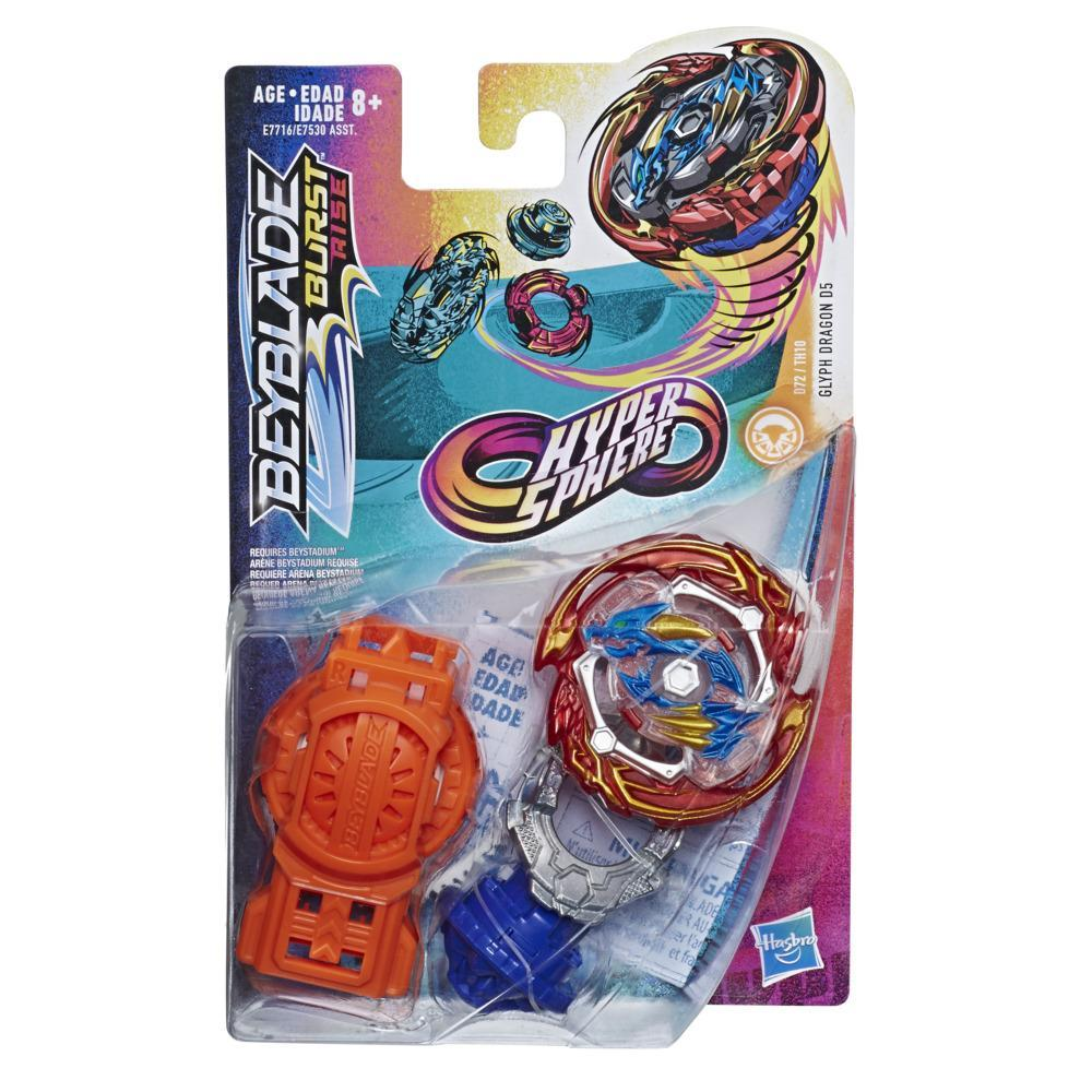 Beyblade Burst Rise Hypersphere Glyph Dragon D5 Starter Pack -- Battling Top Toy and Right/Left-Spin Launcher