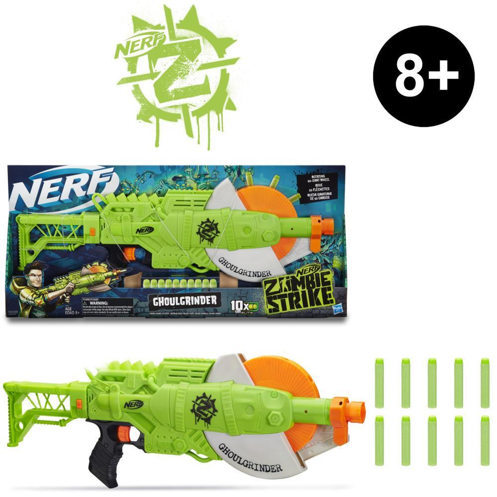 Nerf Zombie Strike Ghoulgrinder Blaster -- Rotating 10-Dart Wheel, 10 Official Nerf Zombie Strike Elite Darts