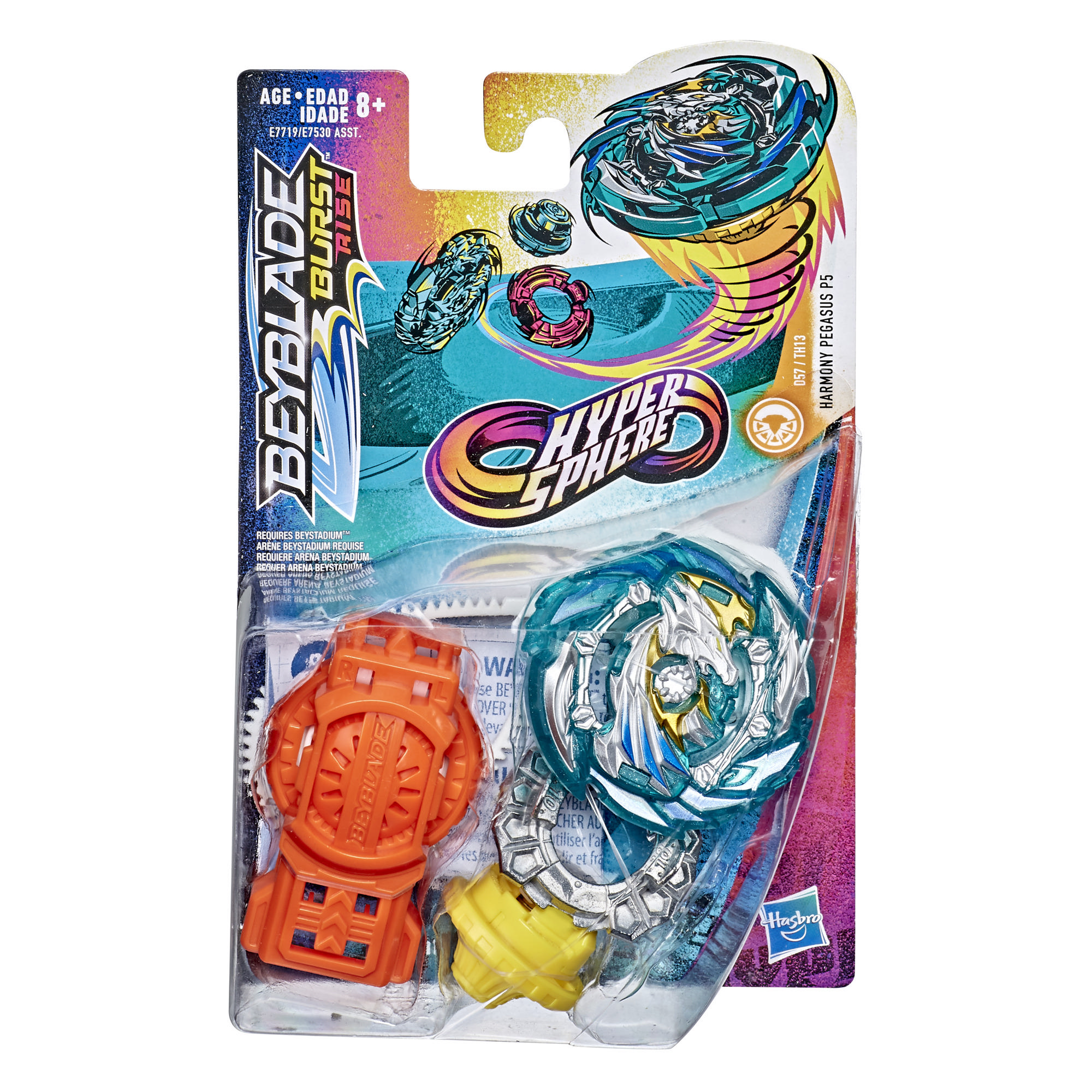 Beyblade Burst Rise Hypersphere Harmony Pegasus P5 Starter Pack -- Battling Top Toy and Right/Left-Spin Launcher