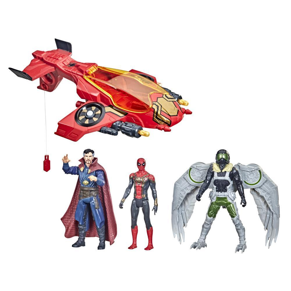 Marvel Spider-Man Spider Escape Jet, 6-Inch Scale Spider-Man, Doctor Strange, and Marvel's Vulture, 4 Projectiles, Ages 4 and Up