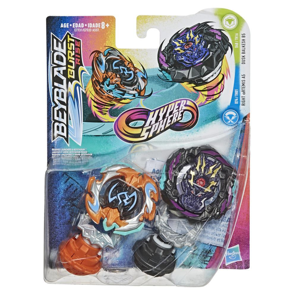 Beyblade Burst Rise Hypersphere Dual Pack Dusk Balkesh B5 and Right Artemis A5 -- 2 Battling Top Toys, Ages 8 and Up