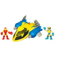 MARVEL Super Hero Adventures PLAYSKOOL HEROES Rescue Jet with WOLVERINE & IRON MAN
