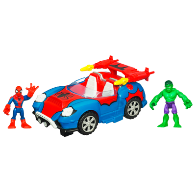 MARVEL Super Hero Adventures PLAYSKOOL HEROES Crime-Cruising Car with SPIDER-MAN & HULK