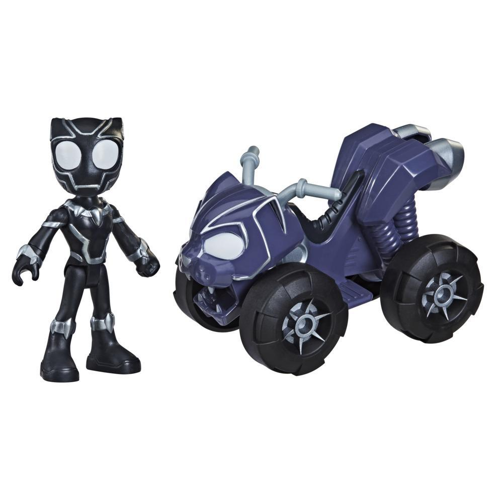 Marvel Spidey and His Amazing Friends Black Panther Action Figure And Panther Patroller Vehicle, For Kids Ages 3 And Up