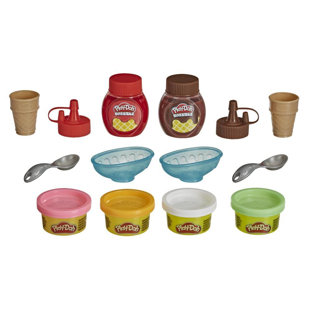 Play-Doh Kitchen Creations Double Drizzle Ice Cream Playset with 2 Play-Doh Drizzle Colors and 4 Classic Cans, Non-Toxic