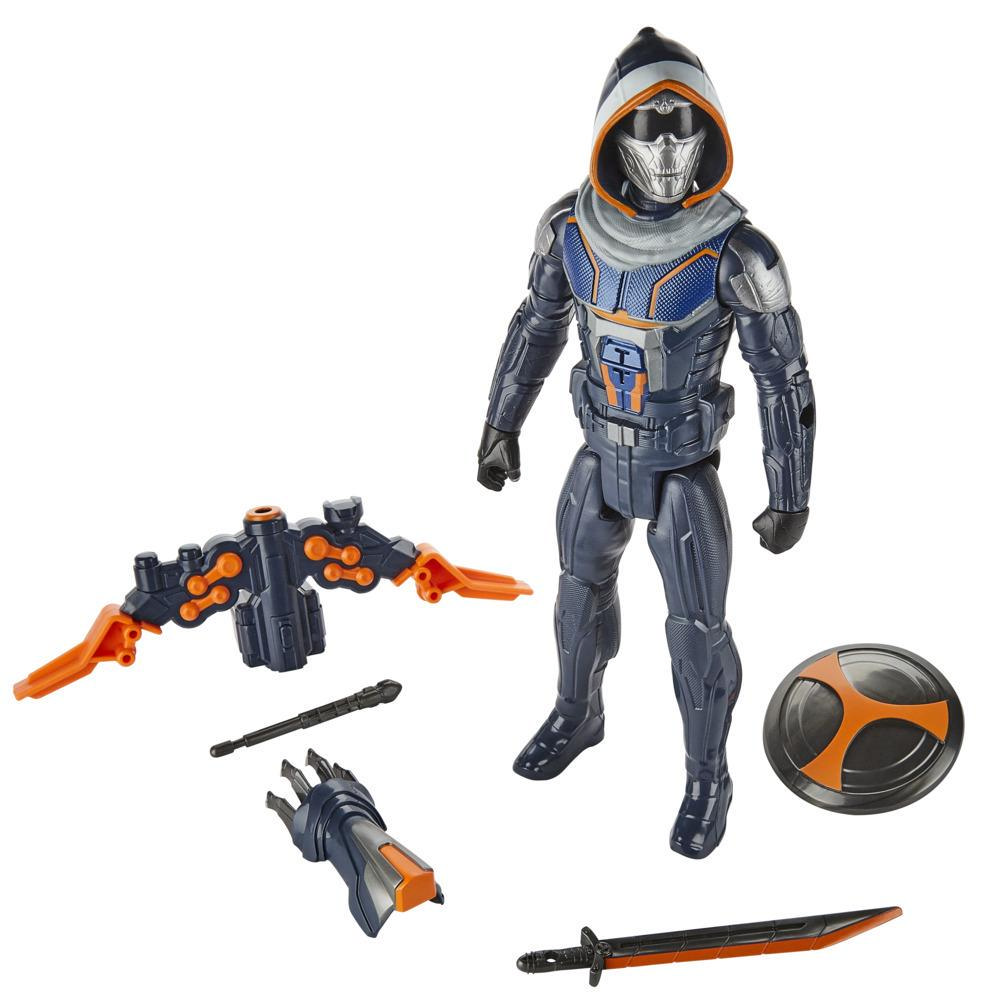 Marvel Black Widow Titan Hero Series Blast Gear Taskmaster 12-Inch Action Figure, Launcher and Projectiles, Age 4 And Up