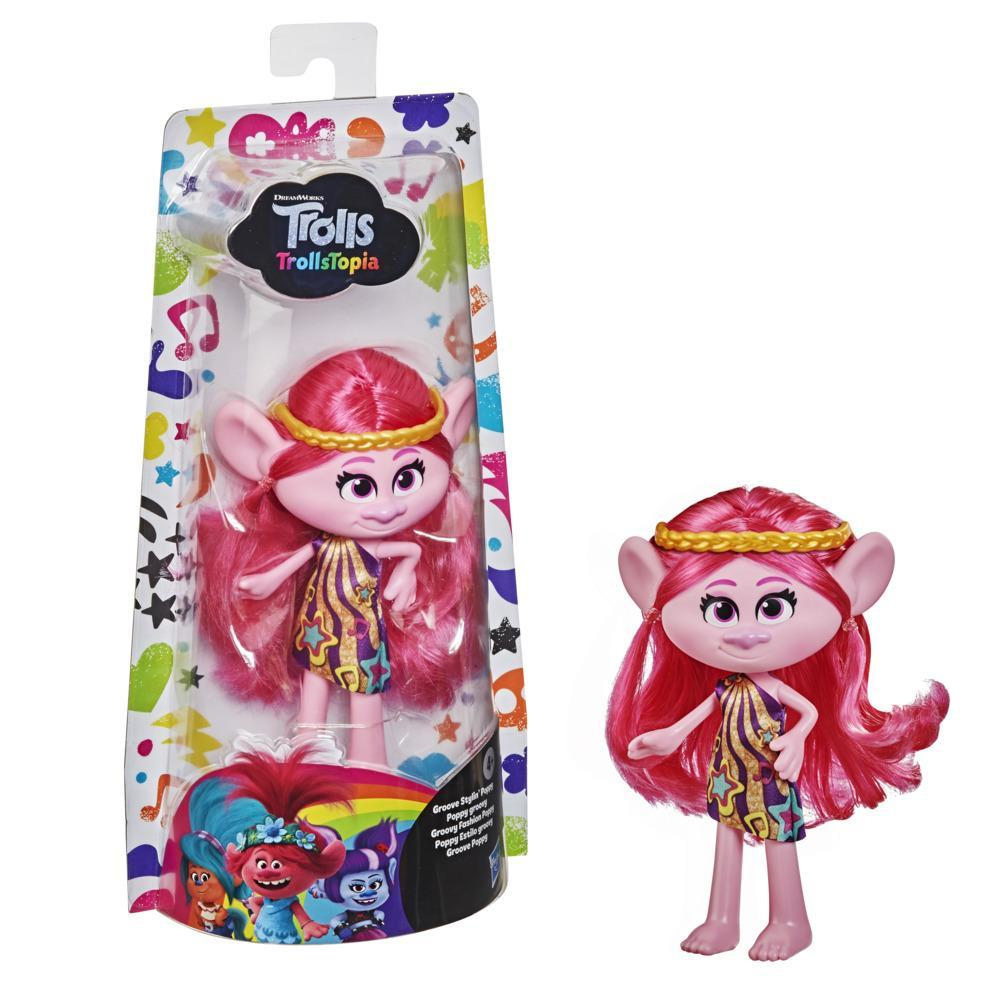 DreamWorks TrollsTopia Groove Stylin' Poppy Fashion Doll with Removable Dress, Toy for Girls 4 and Up
