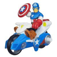 Playskool Heroes Marvel Super Hero Adventures Captain America Figure with Shield Racer