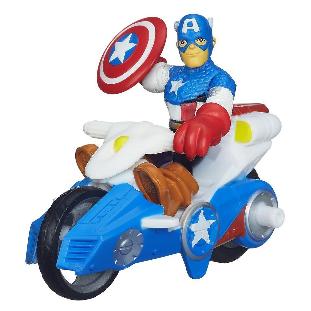 Playskool Heroes Marvel Super Hero Adventures Captain America Figure with Shield Racer