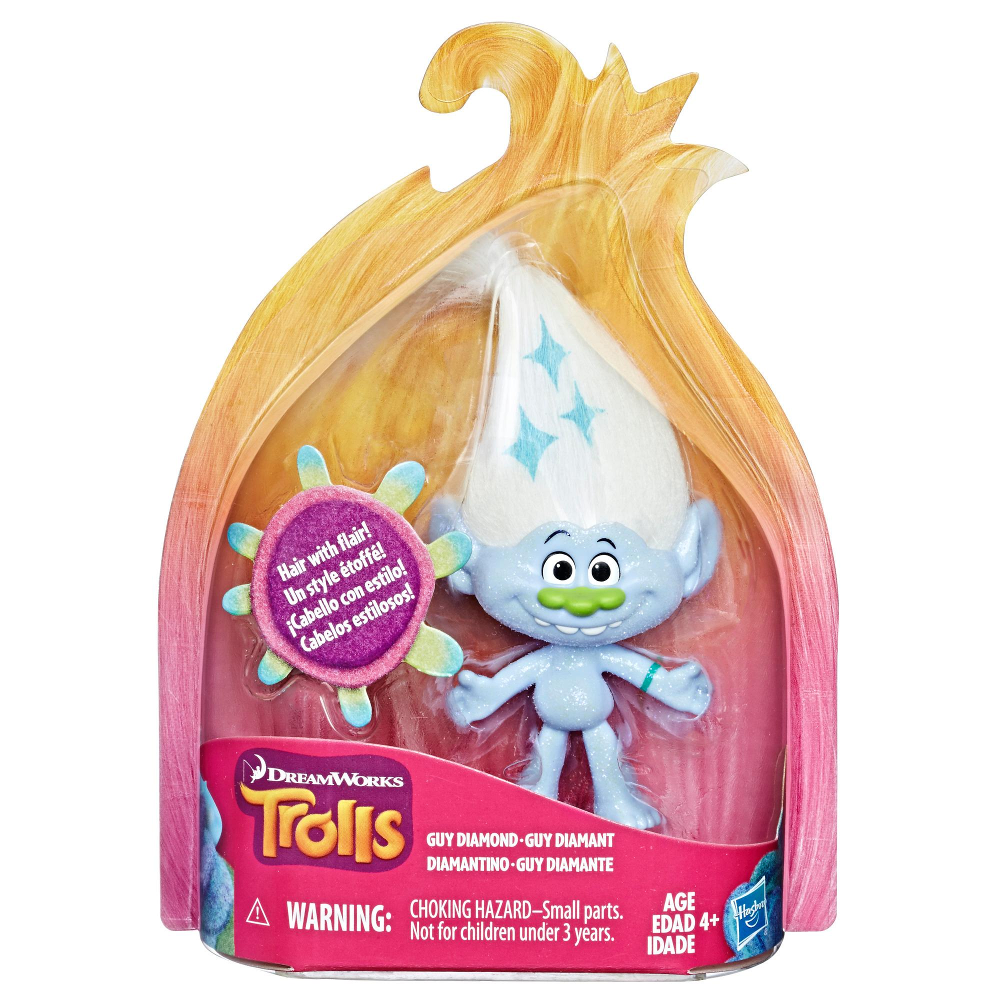 DreamWorks Trolls Guy Diamond Collectible Figure with Printed Hair