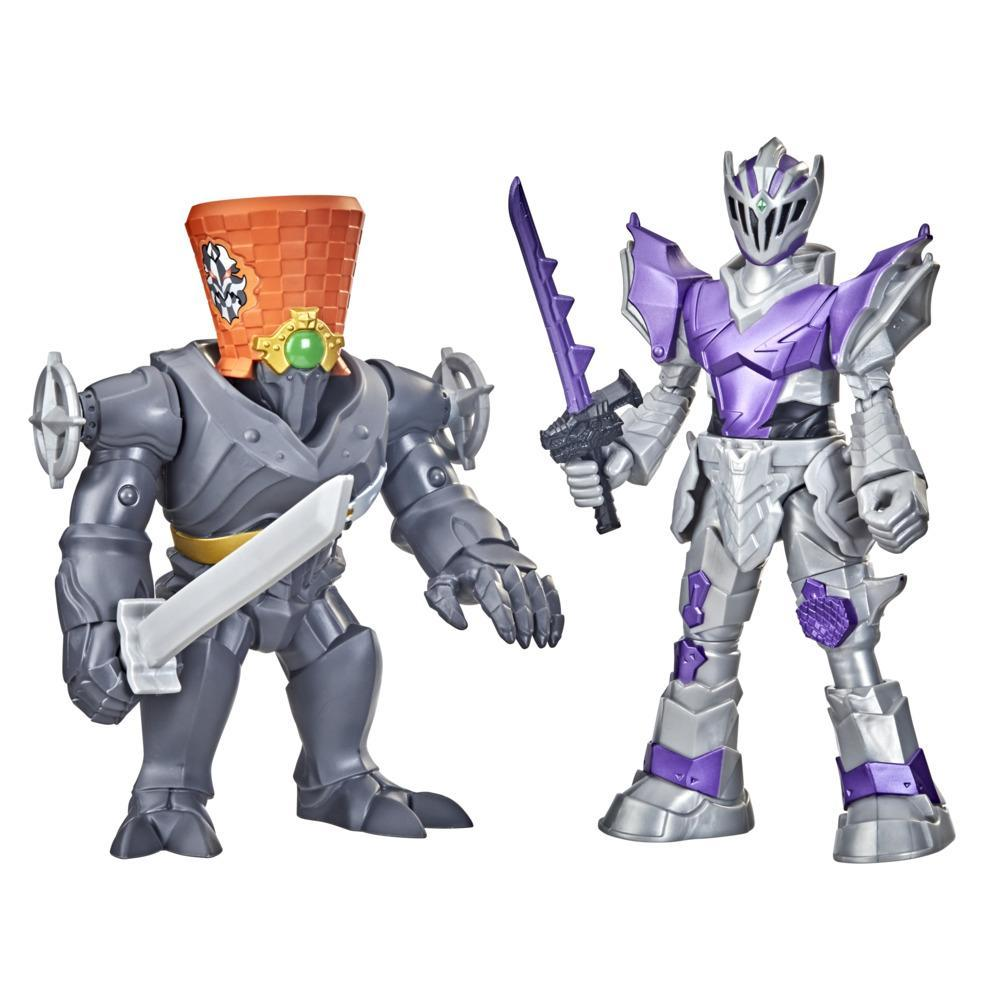 Power Rangers Dino Fury Battle Attackers 2-Pack Void Knight vs. Snageye Kicking Action Figure Toys For Ages 4 and Up