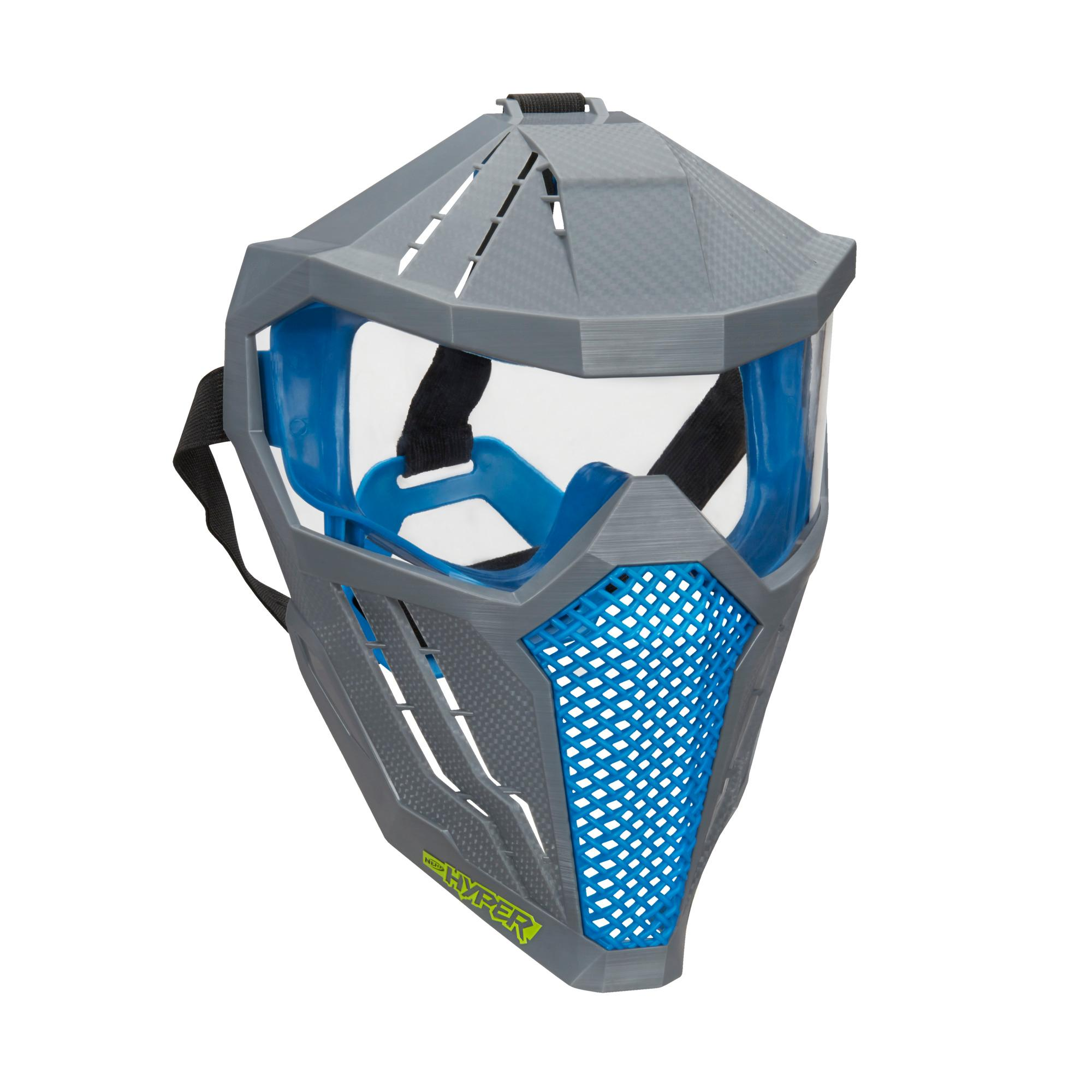 Nerf Hyper Face Mask -- Breathable Design, Adjustable Head Strap -- Blue Team Color -- For Teens, Adults
