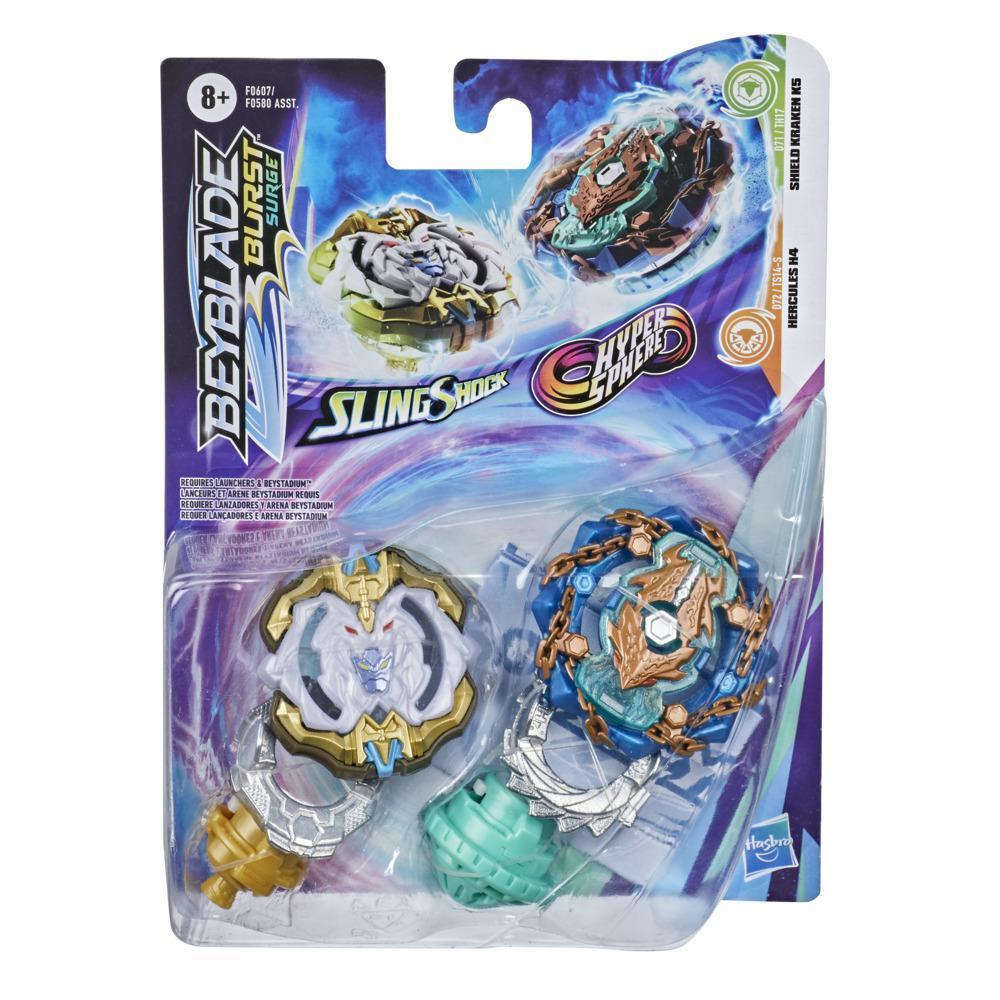 Beyblade Burst Surge Dual Collection Pack Hypersphere Shield Kraken K5 and Slingshock Hercules H4 Battling Game Top Toys