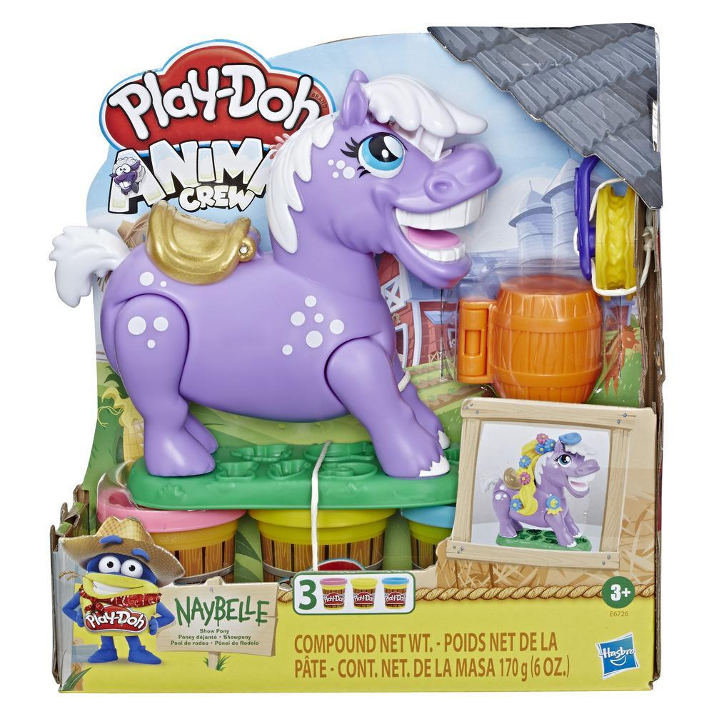 Play-Doh Animal Crew Naybelle Show Pony Farm Animal Playset with 3 Non-Toxic Play-Doh Colors