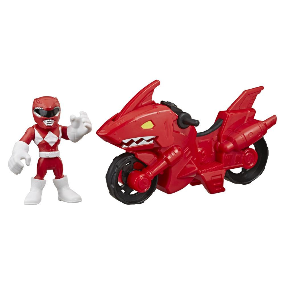 Playskool Heroes Power Rangers Red Ranger Shark Cycle, 5-Inch Figure and Motorcycle Set, Toys for Kids Ages 3 and Up