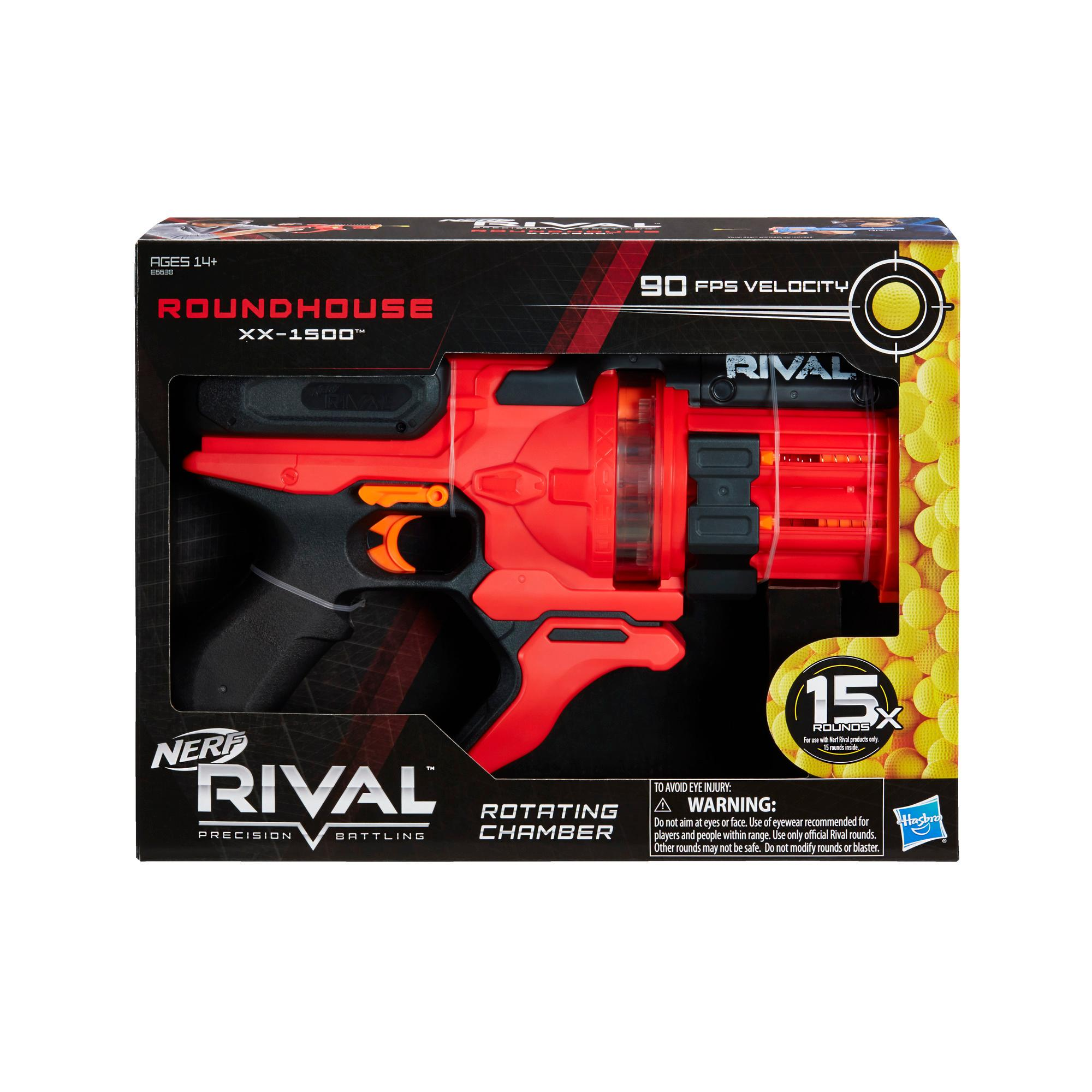 Nerf Rival Roundhouse XX-1500 Red Blaster -- Clear Rotating Chamber -- 5 Integrated Magazines, 15 Nerf Rival Rounds