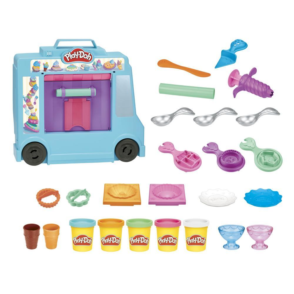 Play-Doh Ice Cream Truck Playset for Kids 3 Years and Up with 20 Tools, 5 Modeling Compound Colors