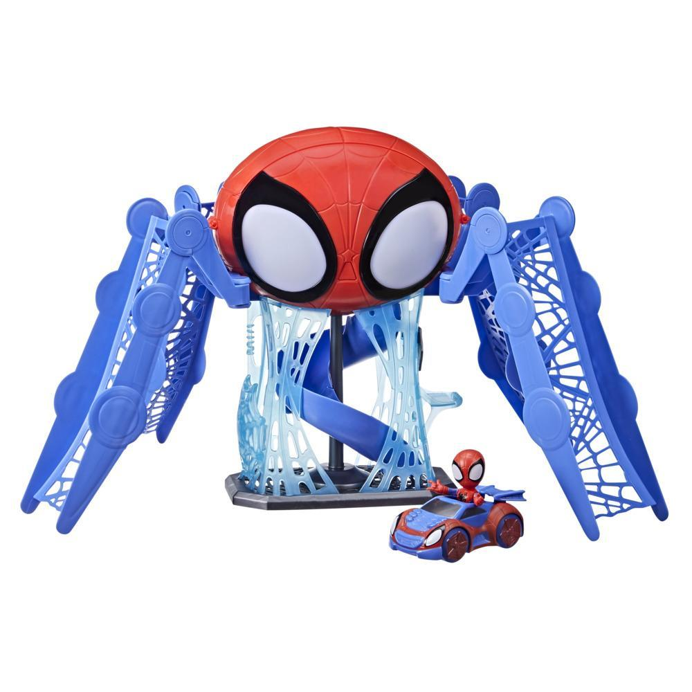 Marvel Spidey and His Amazing Friends Web-Quarters Playset With Lights, Sounds, Spidey and Vehicle, For Kids Ages 3 and Up