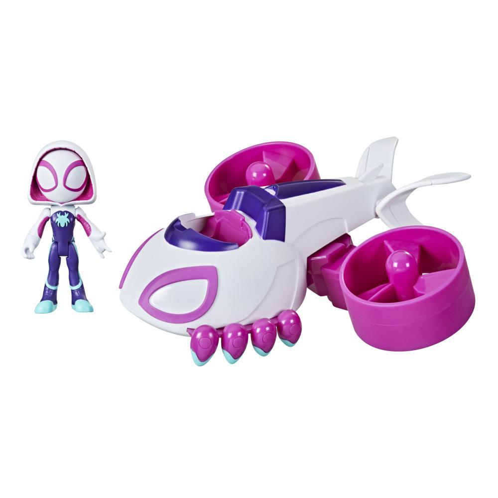 Marvel Spidey and His Amazing Friends Change 'N Go Ghost-Copter And Ghost-Spider 4-inch Action Figure, For Kids Ages 3 And Up