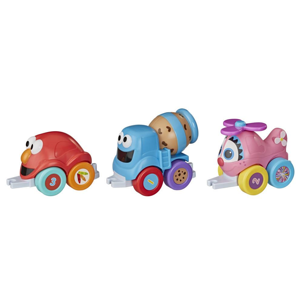 Sesame Street Tow and Go Friends Toy, 3 Linking Character Vehicles for Toddlers, Kids 18 Months & Up