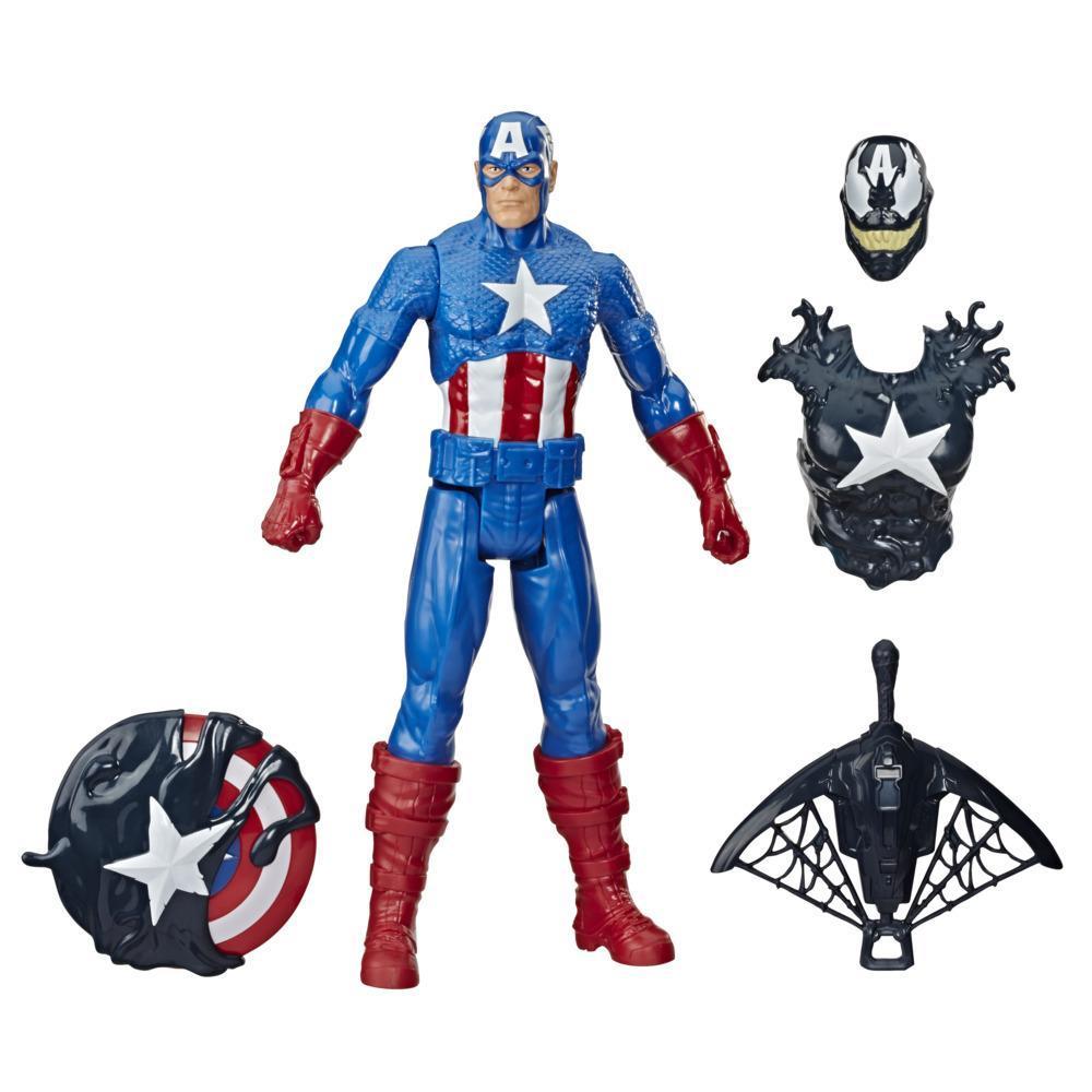 Spider-Man Maximum Venom Titan Hero Venomized Captain America, With Launcher, Projectile, 6 Accessories, Ages 4 And Up