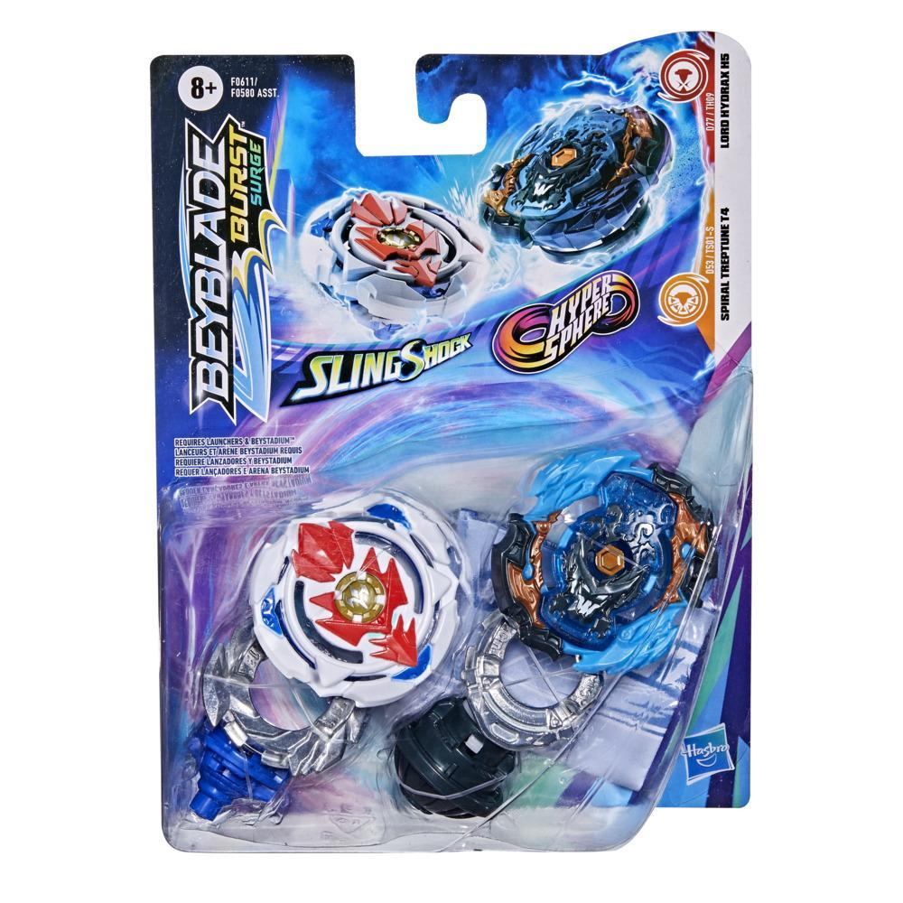 Beyblade Burst Surge Dual Collection Pack Hypersphere Lord Hydrax H5, Slingshock Spiral Treptune T4 Battling Game Top
