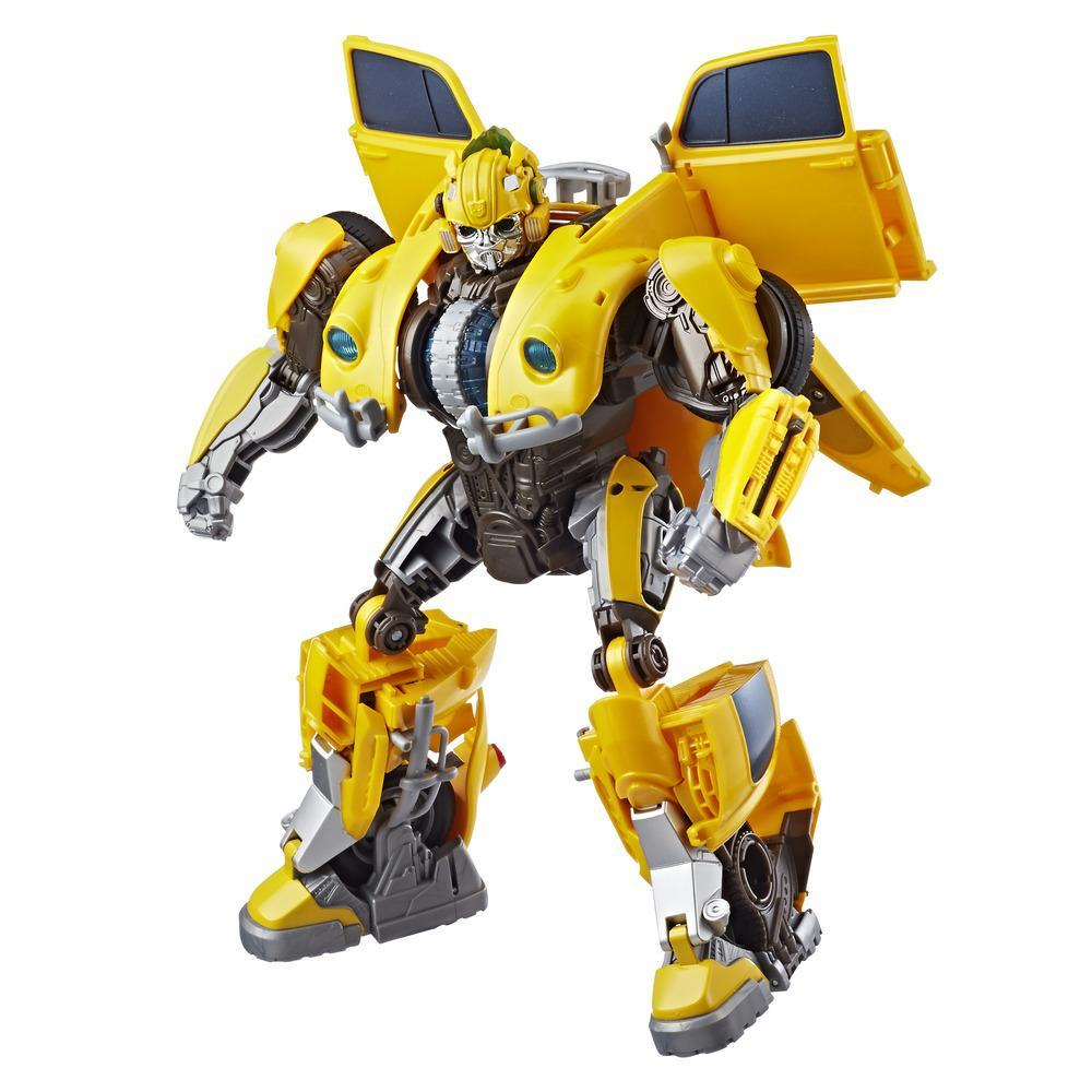 Transformers: Bumblebee Movie Toys, Power Charge Bumblebee Action Figure - Lights and Sounds, 10.5-inch