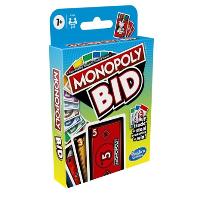Monopoly Bid Game, Quick-Playing Card Game For Families and Kids Ages 7 and Up