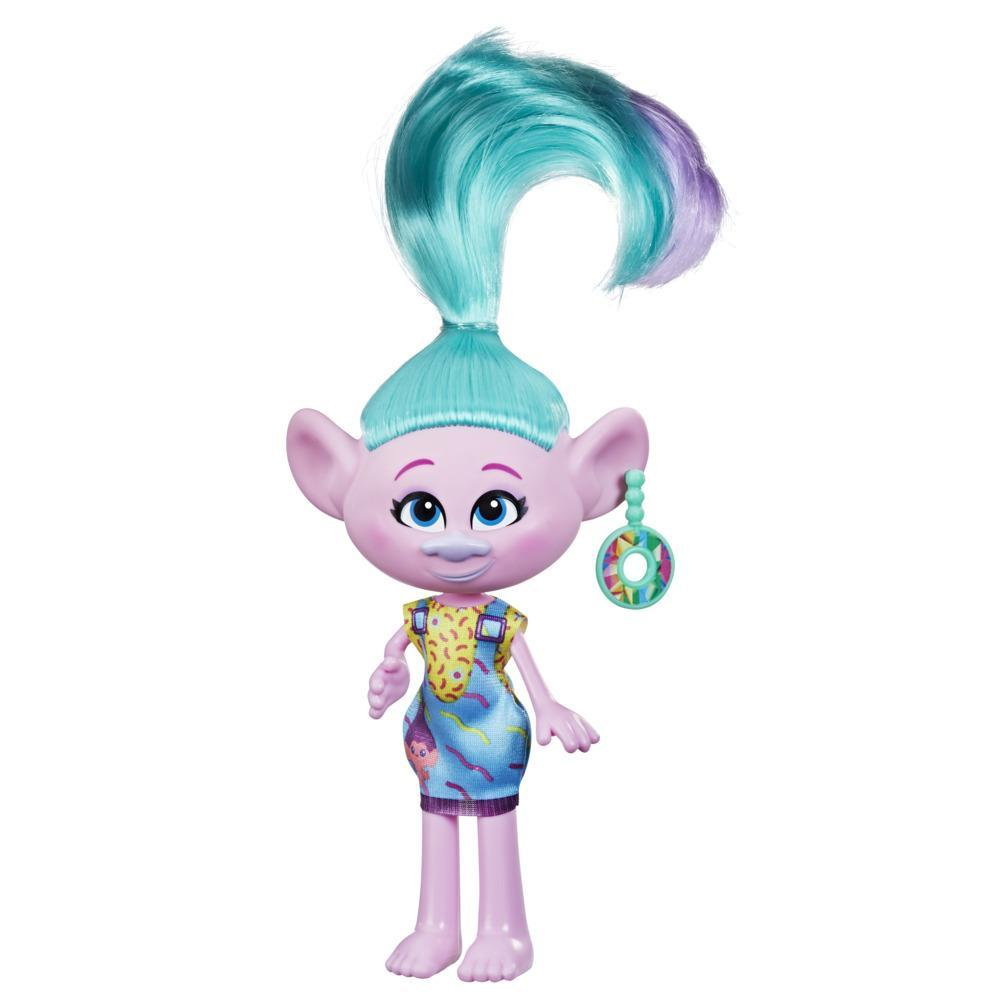 DreamWorks TrollsTopia Stylin' Satin Fashion Doll with Removable Dress and Earring, Trolls Toy for Girls 4 and Up